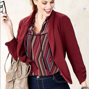New Maurices Blazer Maroon Red Ruched 3/4 Sleeve